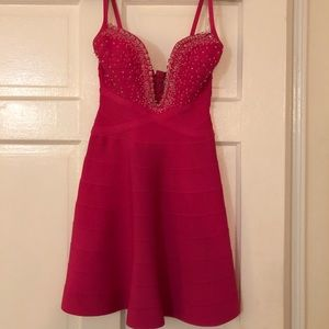 Hot pink beautiful Herve dress with crystal detail